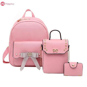 3pcs/Set Bowknot PU Leather Women Backpacks Cute School Backpacks For Teenage Girlsintothea-intothea