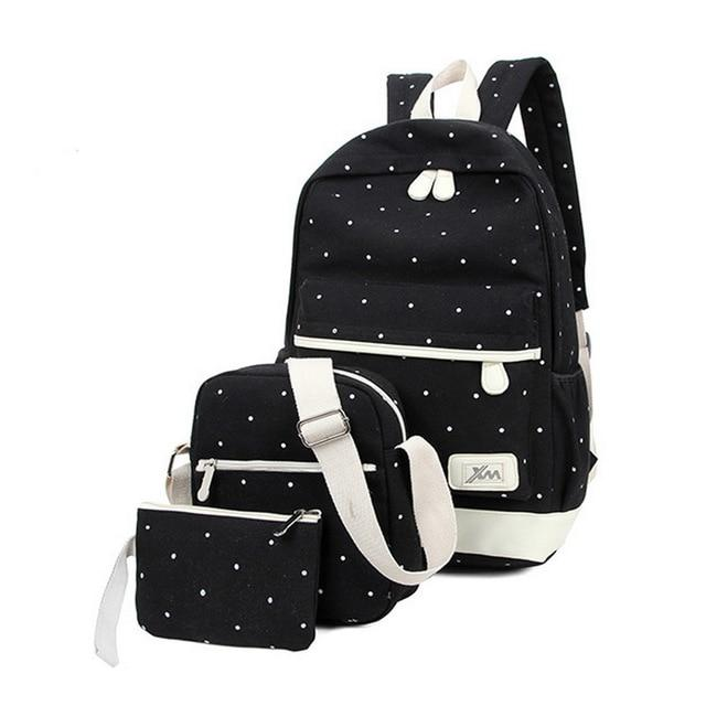 3Pcs/Set Small Solid Color Women Backpacks Female School Bags For Teenageintothea-intothea