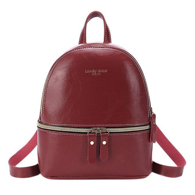 Korean Style Solid Color Women's Backpack 2019 Mini Leather Casual Studentintothea-intothea