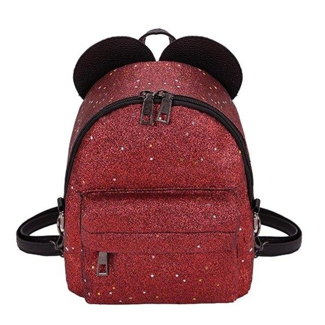 Women Shining Sequins PU Leather Small Backpacks Cute School Bags Girlsintothea-intothea