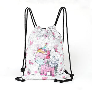 New Cartoon Women Unicorn Backpacks Mermaid Sequins Drawstring Bag Christmas Backpack Childrenintothea-intothea