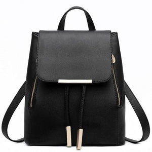 Fashion Female PU Leather Black School Supplies Backpack Japanese Street Bag Women'sintothea-intothea