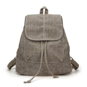 LJL New Canvas Women Backpack Drawstring School Bags For Teenagers Girls Smallintothea-intothea