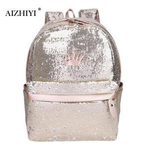 Women Shining Sequins Backpacks Student School Bag for Teenage Girls Large Capacityintothea-intothea