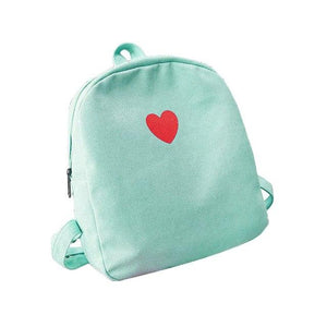 Fashion Women Teenager Mini Canvas Backpack Sweet Love Heart Rucksack for Teenagerintothea-intothea