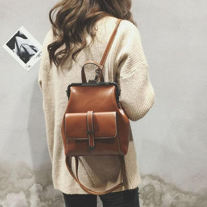 2018 Vintage Hasp Leather Backpack Female Women School Bags For Teenagers Girlsintothea-intothea