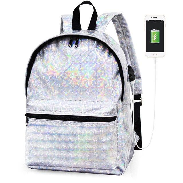 New 2018 Grils Silver Hologram Laser School Backpacks PU Leather Holographic Backpackintothea-intothea