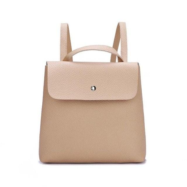 Backpack	Girls Backpack	Solid Backpacks Female	Hasp Fashion Women Girl Leather Mini School Bag Shoulderintothea-intothea