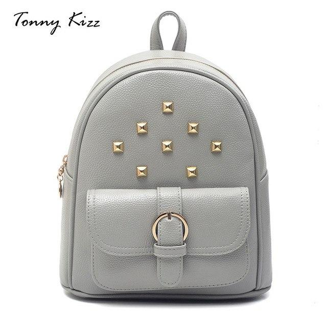 Small Rivet mochila polyester women backpacks travel shoulder bag mini school bagsintothea-intothea
