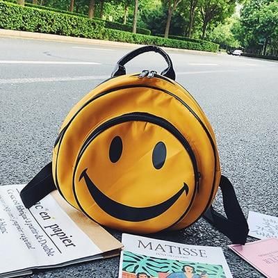 Cute Smiley Face Print Large Round Backpack for Girls Yellow Nylonintothea-intothea
