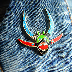 Vejigante mask V2 hard enamel pin with glitter