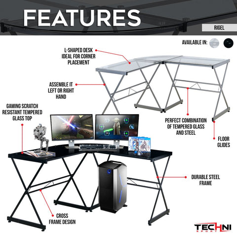 Techni Sport RTA-3805L Gaming Desk - Rigel - eSportsfurnitureworld