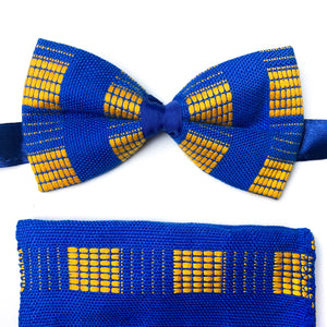 Kente Bow Tie and Handkerchief Set - Royal Blue & Yellow