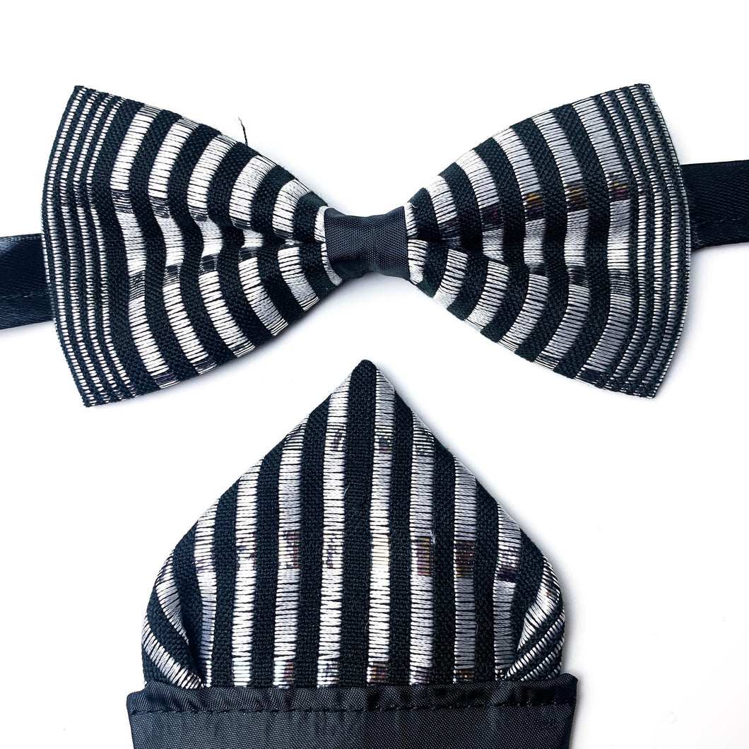 Ivory Coast Kente Bow Tie Set - Black and Silver Thread