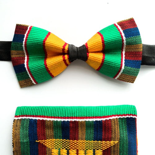 Ghana Kente Bow Tie Handkerchief set - The Ashanti Stool