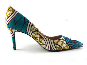 African print shoes - Mitex turquoise - footwear - Ama Select