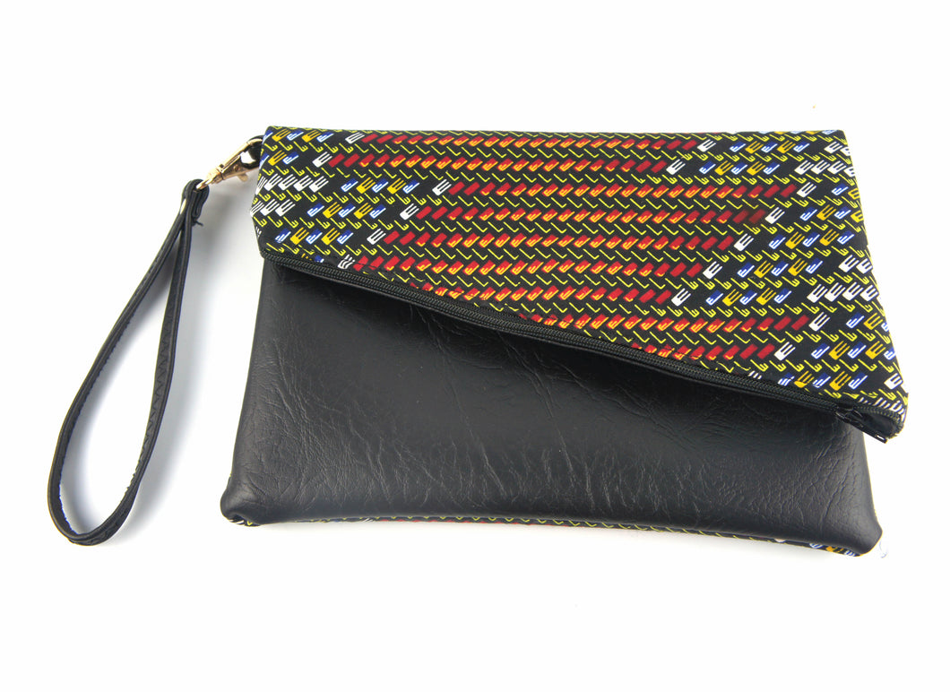 Ankara Fold Over Clutch Bag with Slanted Zip Top - Bags - Ama Select