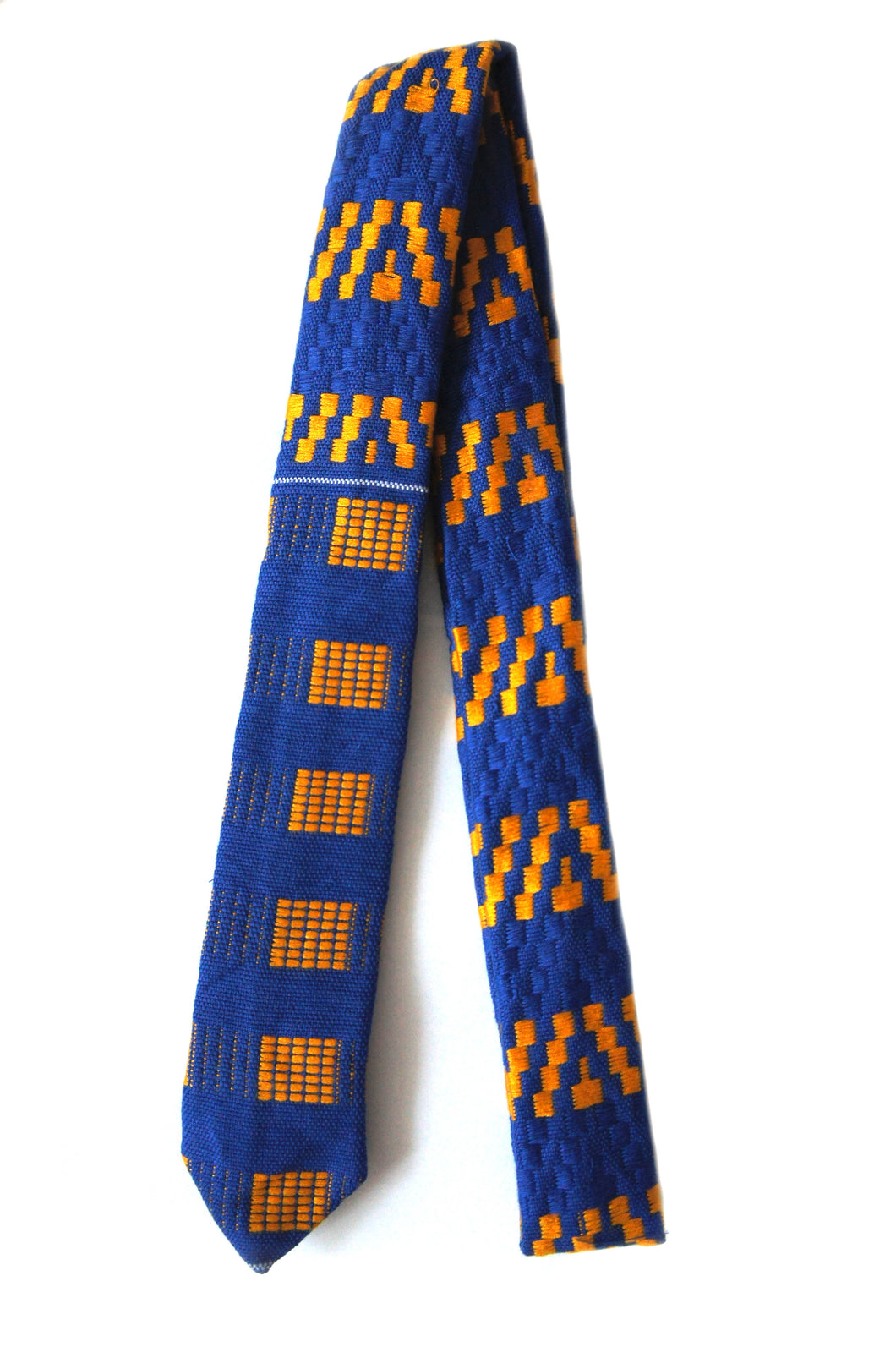 Kente Skinny Tie and Handkerchief Set - Royal Blue & Yellow - Bow Tie Set - Ama Select