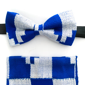 Dandy Kente Bow Tie Set - Royal Blue & White