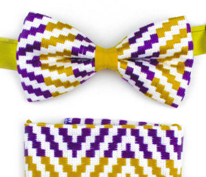Kente Bow Tie and Handkerchief Set - White & Purple