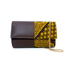 Brown Leather Contrast African Print Clutch Bag