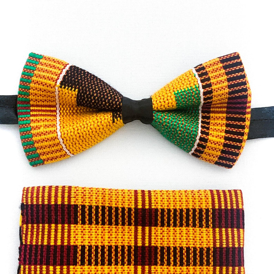 Traditional Kente Bow Tie and Handkerchief Set