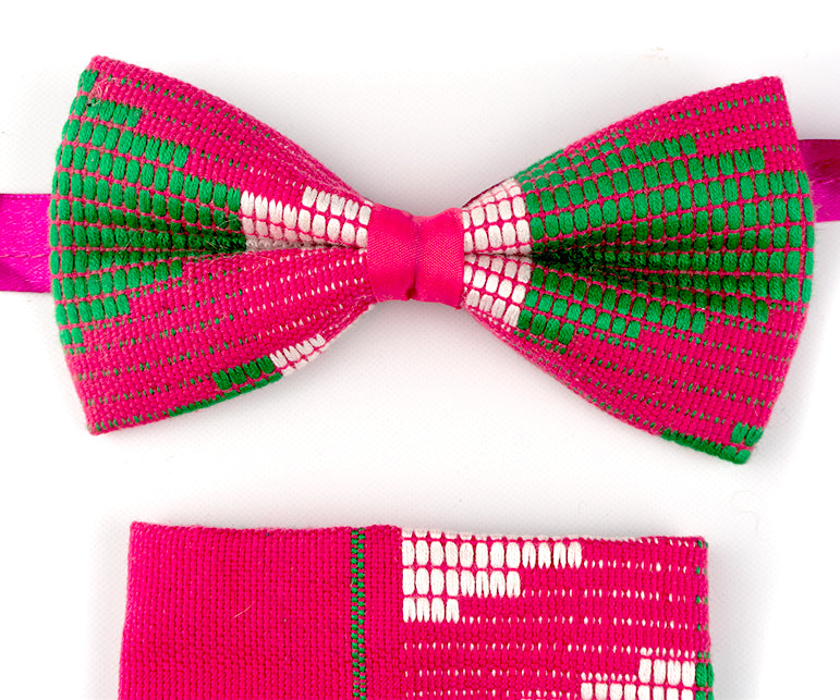 Kente Bow Tie and Handkerchief Set - Pink & Mint - Bow Tie Set - Ama Select