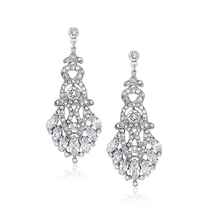 Rent the perfect jewelry for your wedding day. Chandelier earrings. Borrowed Gems Ben Amun