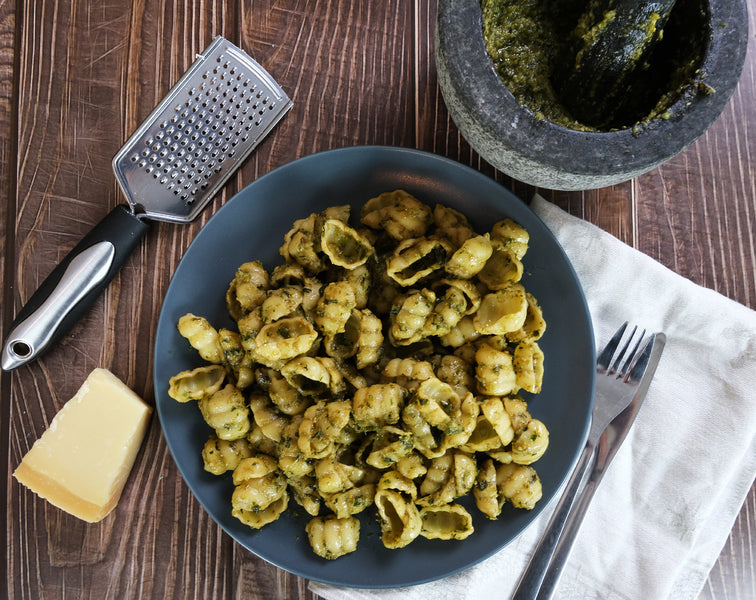 Pesto Genovese with Mortar and Pestle