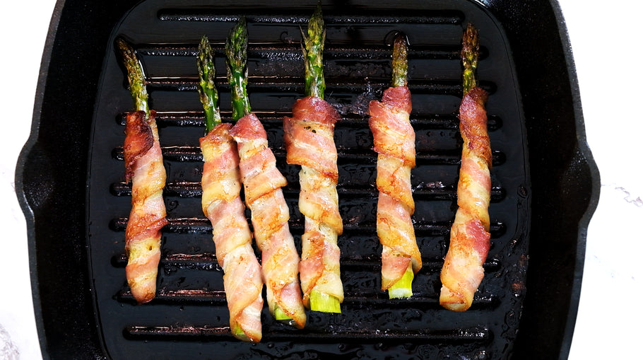 Bacon Wrapped Asparagus in a Cast Iron Grill Pan