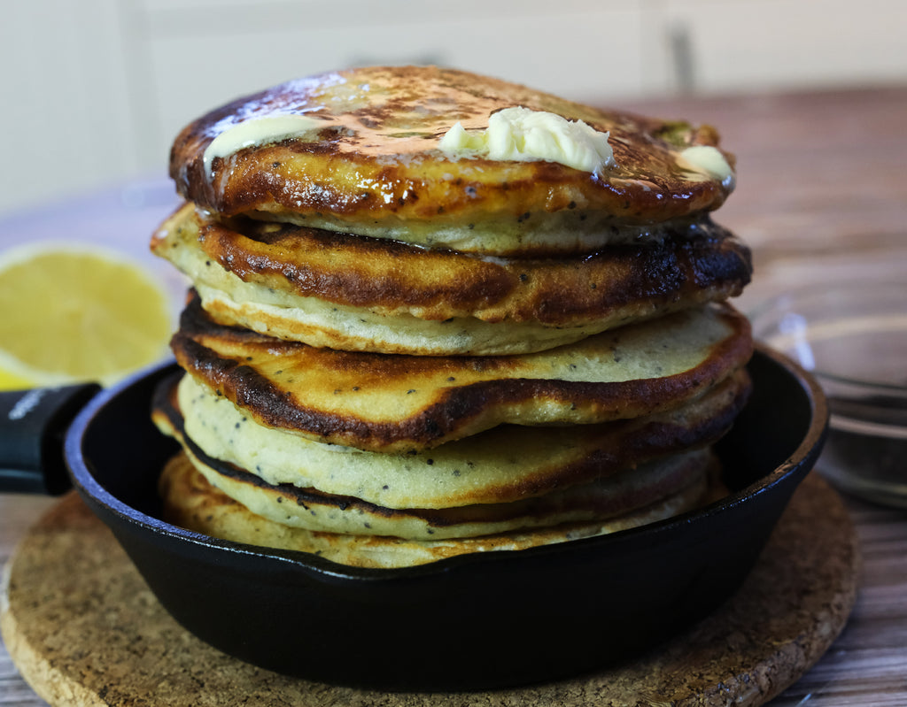 fluffy pancakes made in cast iron skillets