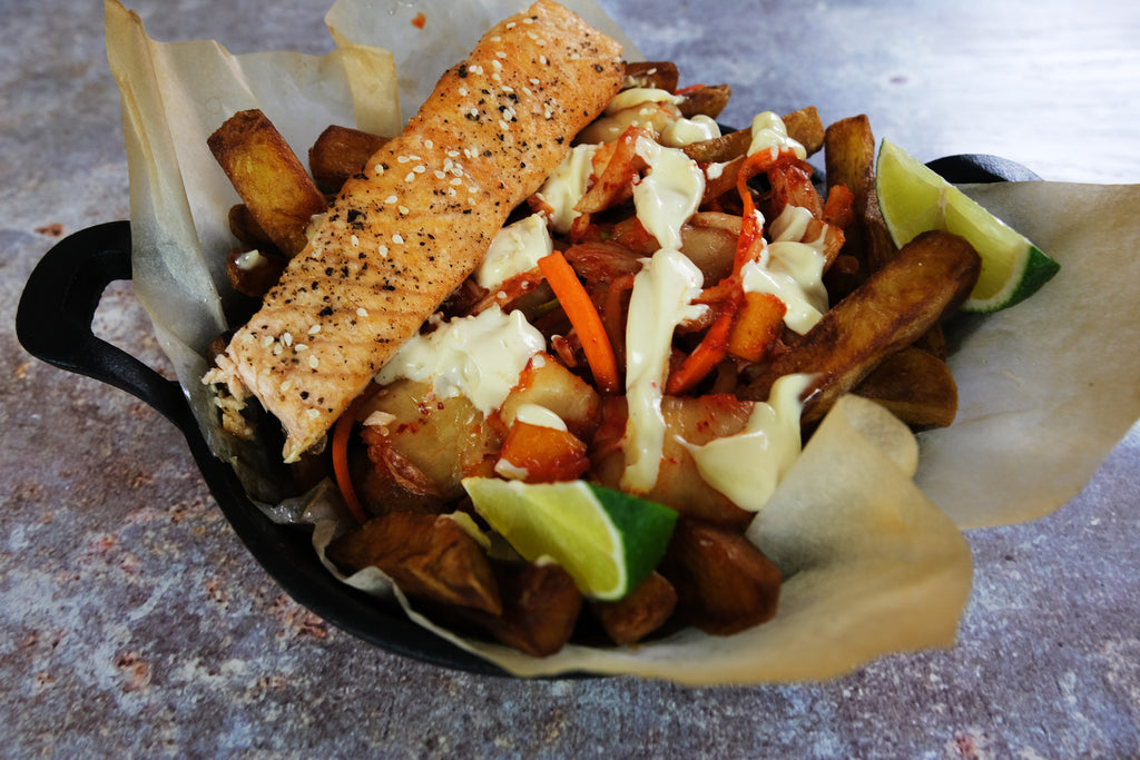 kimchi salmon and chips