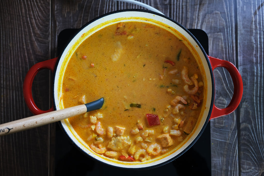 fish and shirmp soup in a dutch oven