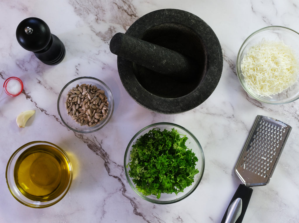 parsley pesto with mortar and pestle