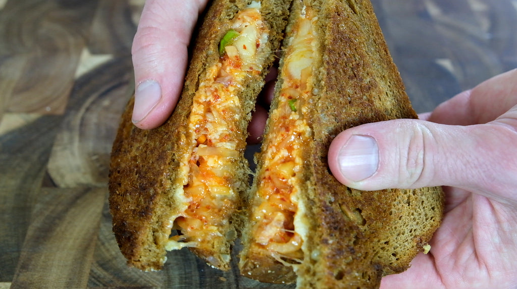 Kimchi grilled cheese made in a cast iron skillet