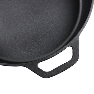 12-Inch Cast Iron Skillet Set (Pre-Seasoned - EXTRA DEEP), Including Large & Assist Silicone Hot Handle Holders, Glass Lid, Scraper | Indoor & Outdoor Use