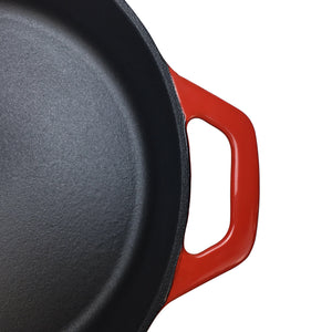 "10.25"" Enameled Cast Iron Skillet Frying Pan, 1 Silicone Hot Handle Holder and 1 Silicone Potholder for the Assist Handle"