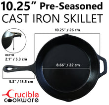Load image into Gallery viewer, 10.25-Inch Cast Iron Skillet Set (Pre-Seasoned), Including Large & Assist Silicone Hot Handle Holders | Indoor & Outdoor Use