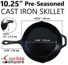 Load image into Gallery viewer, 10.25-Inch Cast Iron Skillet Set (Pre-Seasoned), Including Large & Assist Silicone Hot Handle Holders, Glass Lid, Cast Iron Cleaner Chainmail Scrubber, Scraper | Indoor & Outdoor Use