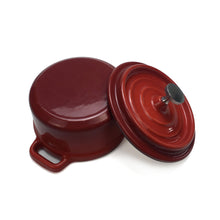 "Load image into Gallery viewer, Enameled Cast Iron Dutch Oven (Small/Mini) - 4"" Diameter - Round Red"