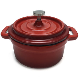 "Enameled Cast Iron Dutch Oven (Small/Mini) - 4"" Diameter - Round Red"