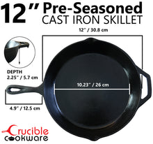 Load image into Gallery viewer, 12-Inch Cast Iron Skillet Set (Pre-Seasoned), Including Large & Assist Silicone Hot Handle Holders | Indoor & Outdoor Use