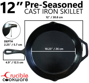 12-Inch Cast Iron Skillet Set (Pre-Seasoned), Including Large & Assist Silicone Hot Handle Holders | Indoor & Outdoor Use