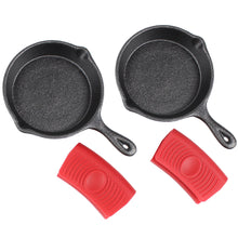 "Load image into Gallery viewer, 4"" Cast Iron Skillet Set of 2 (Pre-Seasoned) with 2 Silicon Hot Handle Holder Grips"