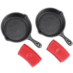 "4"" Cast Iron Skillet Set of 2 (Pre-Seasoned) with 2 Silicon Hot Handle Holder Grips"