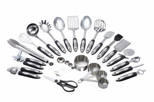 Utensils Set - 26-Piece Complete Stainless Steel Cooking Kitchen Tools Set, Cookware Set, Kitchen Gadgets - Utensilios de Cocinas