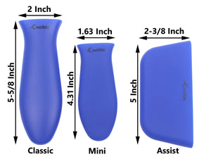 Silicone Hot Handle Holder, Potholders (Multi-Pack Blue) Cast Iron Skillets, Pans, Frying Pans & Griddles, Metal Aluminum Cookware Handles - Sleeve Grip, Handle Cover