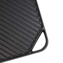 "Load image into Gallery viewer, Cast Iron Griddle (10.63"" by 10.63""), Reversible, Pre-Seasoned, Grill and Griddle Combo Pan, BBQ, Campfire, fits over one stovetop burner"