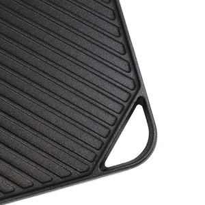 "Cast Iron Griddle (10.63"" by 10.63""), Reversible, Pre-Seasoned, Grill and Griddle Combo Pan, BBQ, Campfire, fits over one stovetop burner"