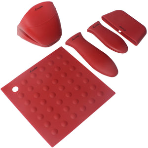 Silicone Hot Handle Holders, Potholders (5-Pack Mix Red) for Cast Iron Skillets, Pans, Frying Pans & Griddles - Sleeve Grip, Handle Cover